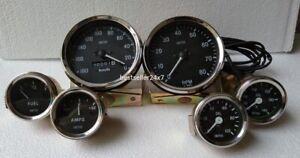 Smiths Replica 52mm Kit- Temp + Oil + Fuel + Amp Gauge+ Speedometer +Tacho 100mm