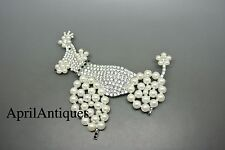 Vintage Cristobal London clear crystal faux pearl glass Poodle Dog large brooch