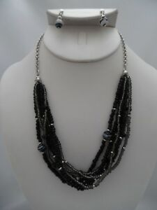 Clip-on-silver-chain-black-gray-amp-white-seed-bead-necklace-amp-earring-set
