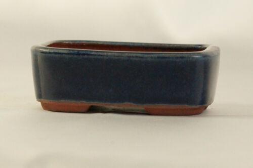 "Bonsai Pot Tokoname Ware /""Blue Rectangle Curved Edge/"" w9.8cm Eimei //Yozan Kiln"