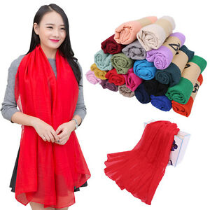 Women Candy Colors Long Soft Cotton Chiffon Scarf Wrap Shawl Pashmina 180x100cm