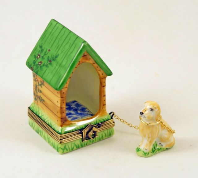 NEW FRENCH LIMOGES TRINKET BOX CUTE DOG PUPPY IN DOG HOUSE ...