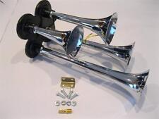 Chrome Metal 12V 150 DB Quad Trumpet Deep LOUD Train Air Four Horn Kit 12 Volt