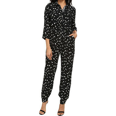 [26 35] Vince Camuto Womens Black Dash 3/4 Sleeves Utility Jumpsuit XS X-small