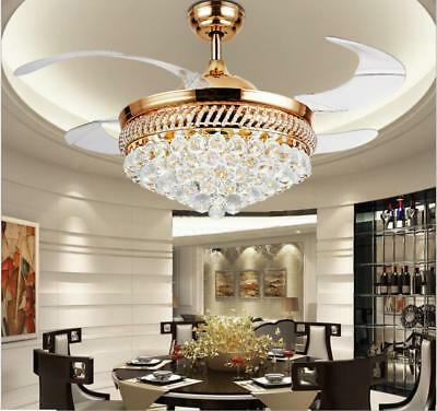 42 Crystal Gold Ceiling Fans Remote Retractable Blades Led Dimming Chandeliers Ebay