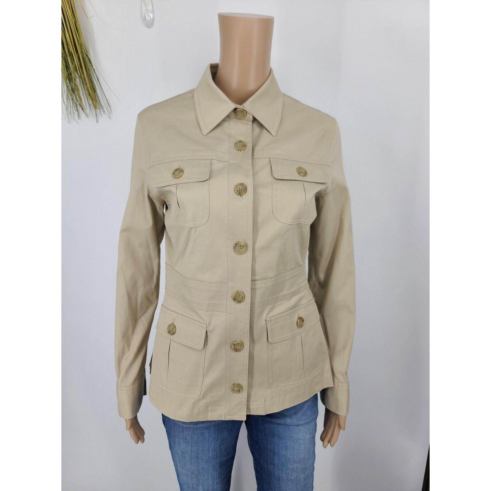 Brooks Brothers Jacket Size 2 Khaki Utility Button Up Stretch Cotton Lined Women