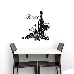 Image Is Loading Grapes And Wine Bottle Wall Sticker Kitchen Dining