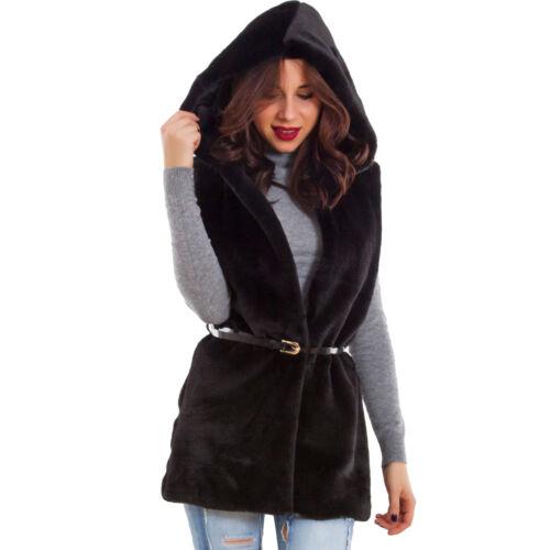 Giacca donna ecopelliccia cappuccio gilet inverno giubbino caldo nuovo AS-0895