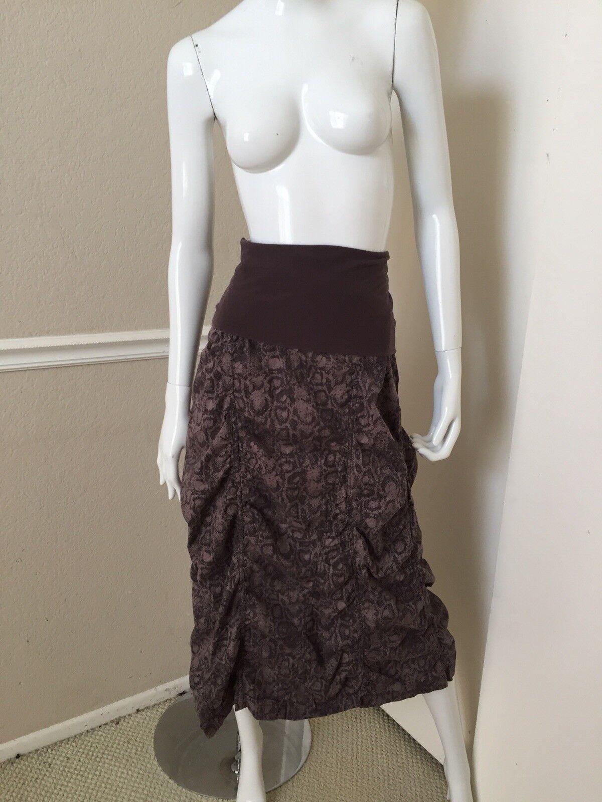 XCVI RARE  Taupe Brown Snakeskin Print Foldover Waist Ruched Midi Skirt Sz S