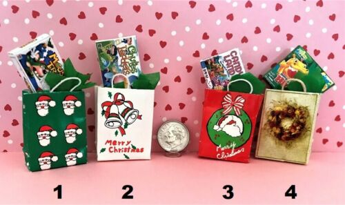 Dollhouse Miniature Christmas Bags with Gift Choice of 1 1:12 Scale