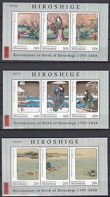 1997 Andö Hiroshige 554-62 Kleinbogen **, 23381 Freundschaftlich Mikronesien