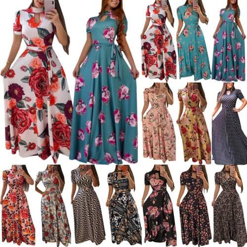Women Boho Floral Rose Print Short Sleeve Evening Party Maxi Long Dress Sundress