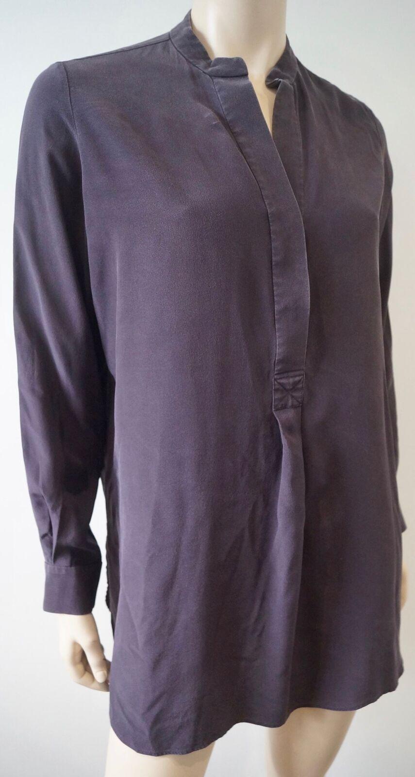 JOSEPH Deep lila Plum Silk Collarless Long Sleeve Blouse Shirt Top 38 UK10