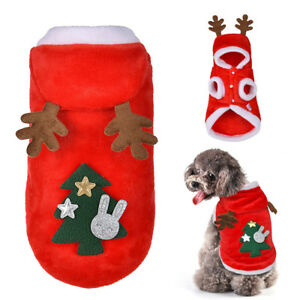 Dog Christmas Clothes Santa Costume Hoodie Pet Cat Xmas Coat Outfit ...