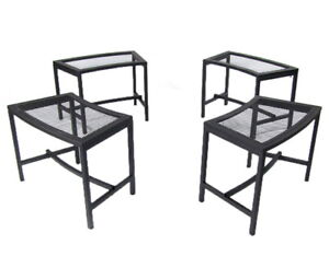 Awe Inspiring Details About Set Of 4 Contemporary Outdoor Mesh Patio Fire Pit Bench In Black Squirreltailoven Fun Painted Chair Ideas Images Squirreltailovenorg