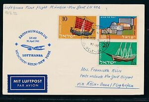 60880-LH-FF-Muenchen-Koeln-New-York-30-4-61-card-Karte-ab-Israel