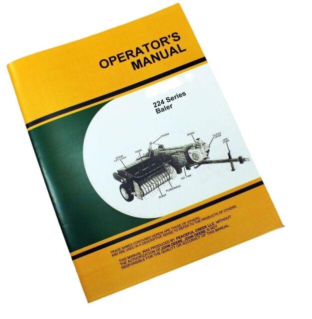 john deere 224 224t 224ws baler operators manual knotter billhook rh ebay com John Deere 535 Baler Manual John Deere 567 Baler Manual