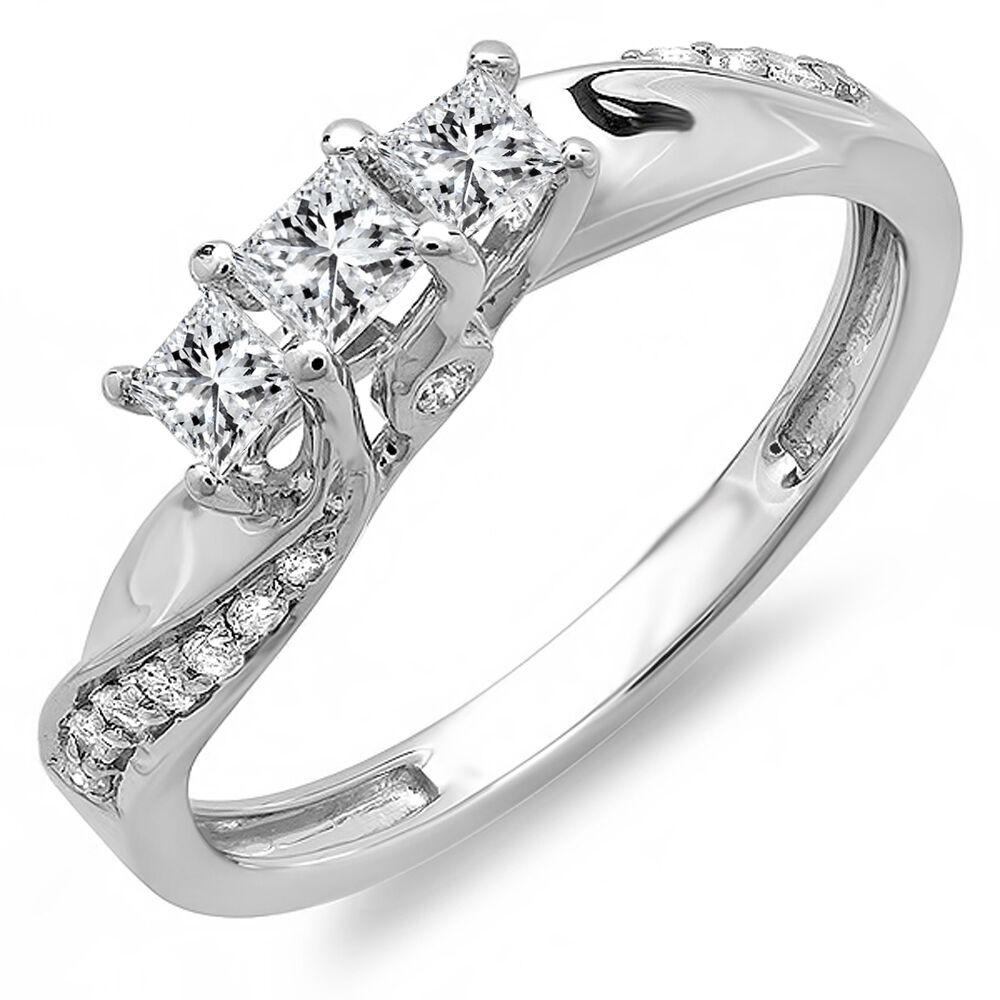 14k White gold Diamond Ladies 3 Stone Engagement Bridal Ring 1 2 CT (Size 7.5)