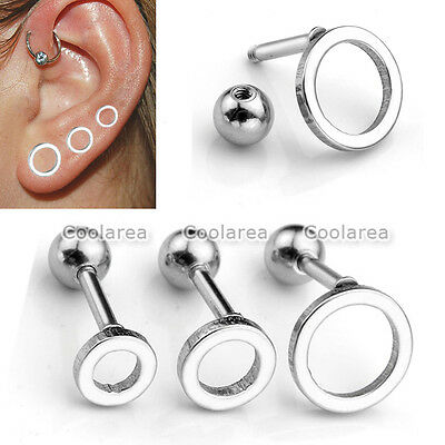 "2-6pc 16G Steel Round Hoop Ear Helix Cartilage Stud 1/4"" Bars Earring Piercing"