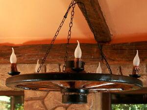 Tradicional-Rural-Autentico-Vintage-Rueda-Madera-Lampara-de-techo-5-bombillas