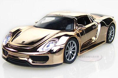 1:32 Porsche 918 Special Alloy Diecast Car Model Toy Sound&Light Golden 2231