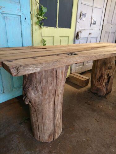 Gartentisch Beine Aus Altem Eichen Baustamm Massiv Eiche Bohlen