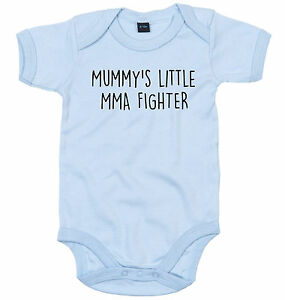 MMA FIGHTER BODY SUIT PERSONALISED MUMMY'S LITTLE BABY GROW NEWBORN GIFT