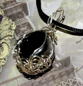 UNIQUE HAND-CRAFTED SILVER-WIRE-WRAPPED MAGNETIC HEMATITE PENDANT   1-5/8 INCHES