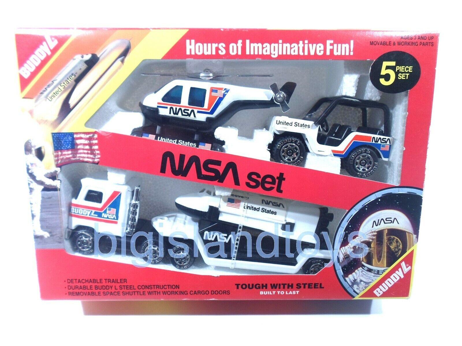 Buddy L NASA Discovery navette spatiale semi Jeep Hélicoptère Acier 1984 Toy Set