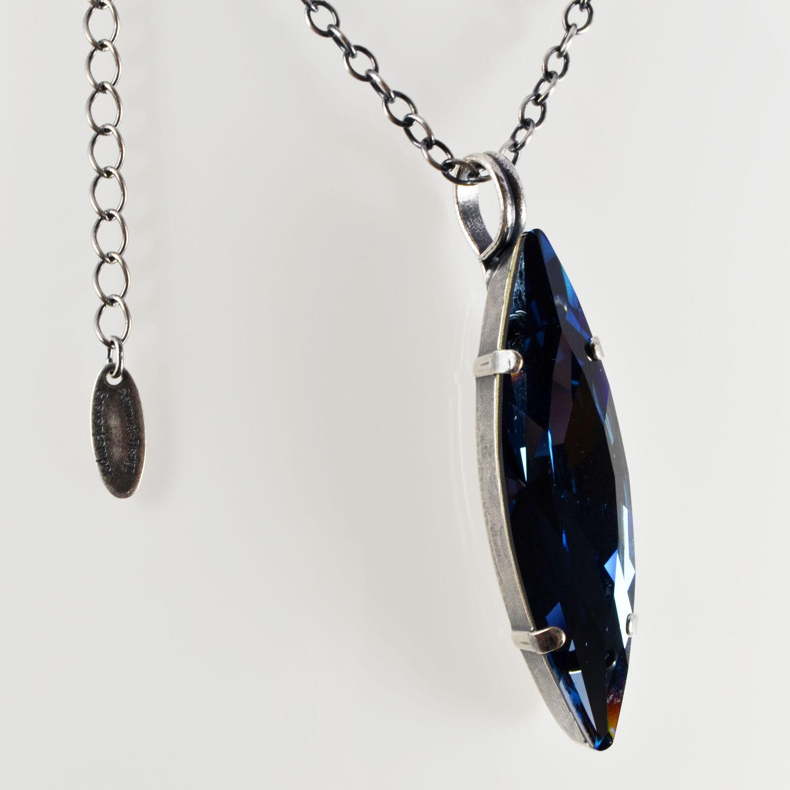 COLLANA catena lunga argentoo + cristallo Swarovski navette OVALE – – – DENIM blu BLU 2fdd1b