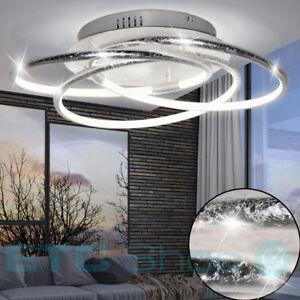 LED-Design-Decken-Lampe-Wohn-Schlaf-Zimmer-Ring-Beleuchtung-ALU-Leuchte-silber