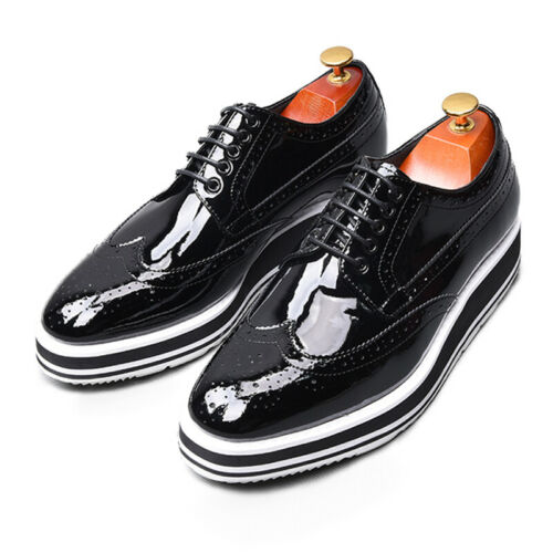 Details about  /Mens Lace Up Oxfords Carved Leather Wedge Heel Round Toe Party Platform Shoes