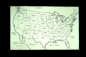 Details about United States Maps 4 Glass Magic Lantern Slides Lot State  Outlines East Coast