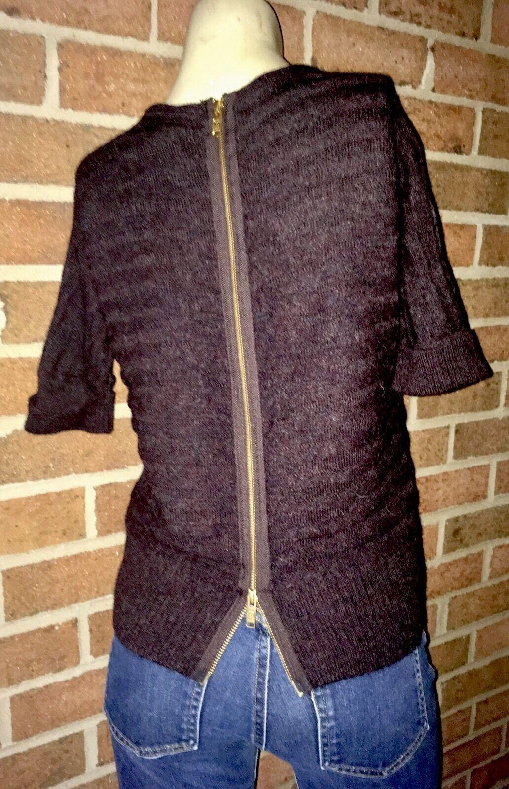 Marc Marc Jacobs Rear Zip Odessa Aspen Brown Melange Knit Baby Alpaca Sweater M