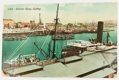 """1913 CIRCULAR QUAY SYDNEY POSTCARD NSW. PART OF THE """"NATURE"""" SERIES 1748"""