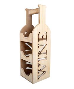 3 Bottle Wine Rack Wooden Wine Bottle Carrier Stand 756970117117 Ebay