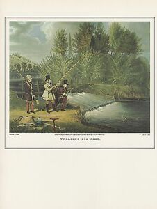 1974-Vintage-FISHING-034-TROLLING-FOR-PIKE-034-TOTTENHAM-COLOR-Art-Print-Lithograph