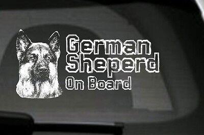German Shepherd On Board, Car Sticker, High Detail, Great Gift For Dog Lover
