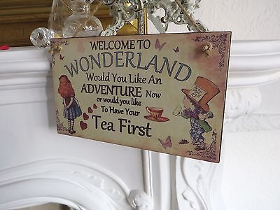 ALICE IN WONDERLAND  Hanging Wood Plaque  MAD HATTER  shall we have tea now