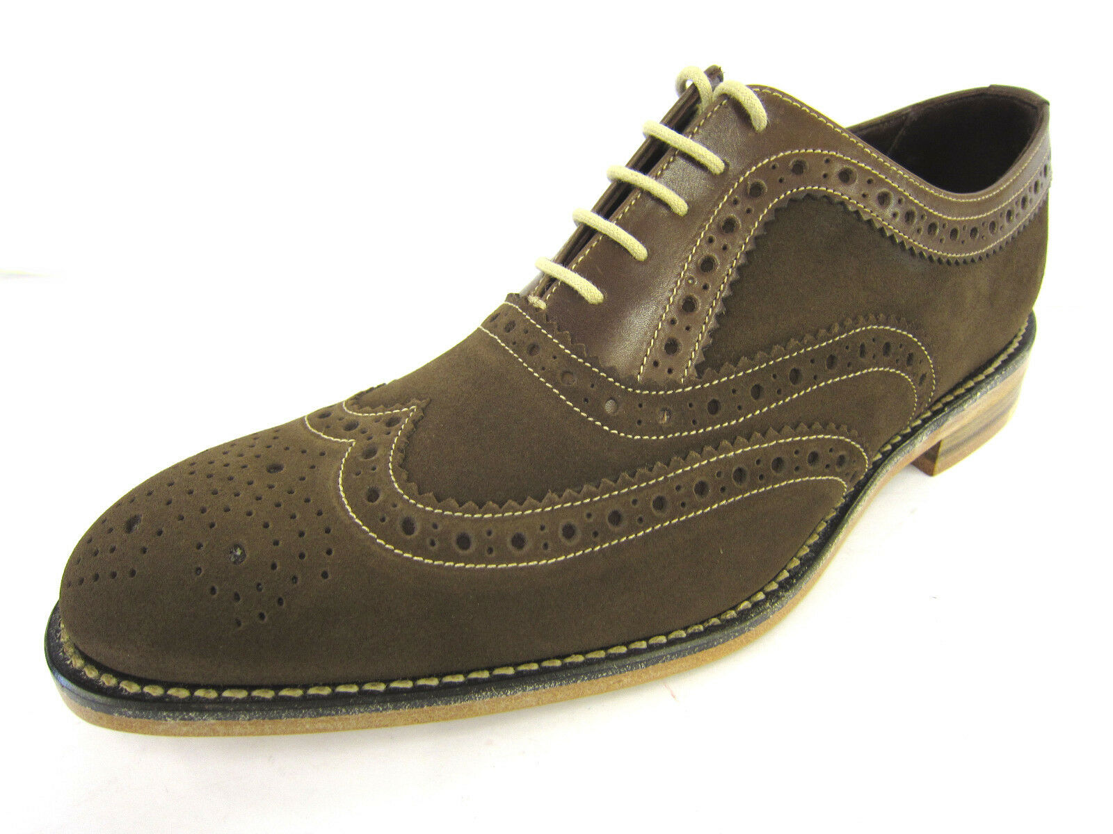 Uomo Loake Braun Up Suede & Leder Lace Up Braun Formal Brogue Schuhes F Fitting FLOYD 1776d2