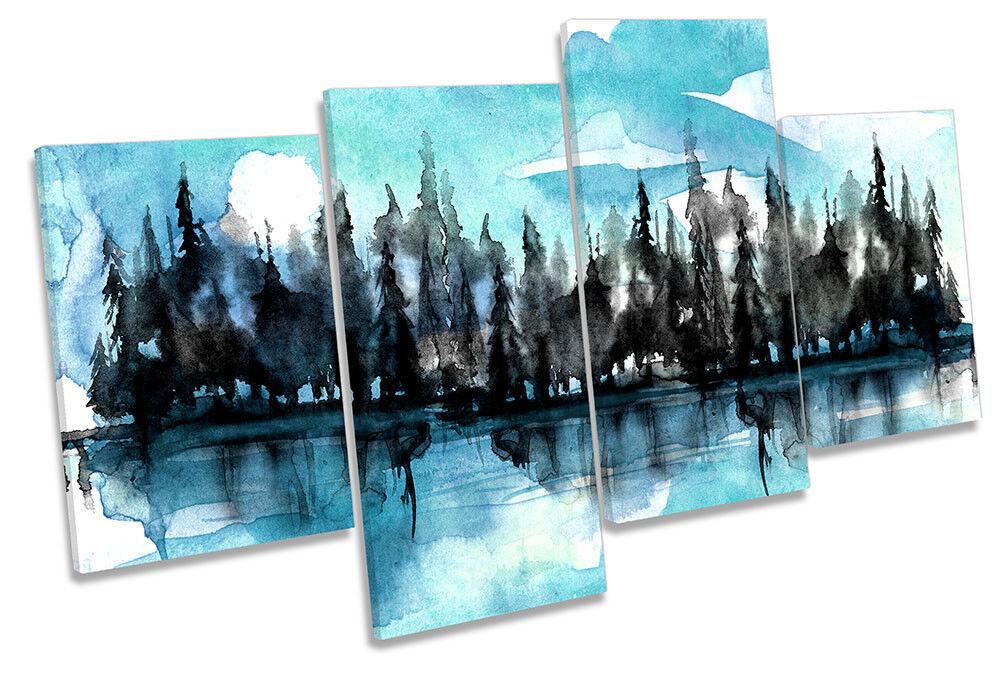 Forest River alberi ad acquerello acquerello acquerello incorniciato Multi stampa art. a muro 5723e6