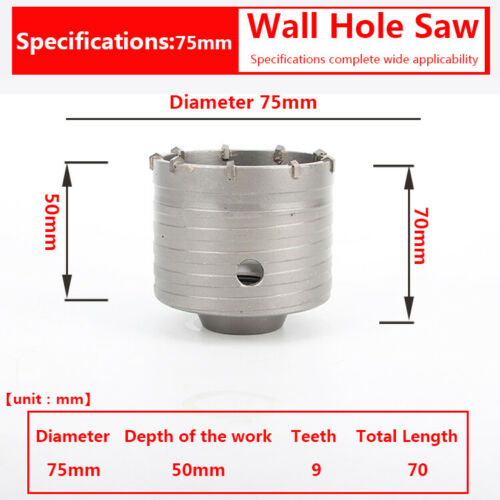 Wall Hole Saw Open Drill Bit 30-500mm Wrench Concrete Cement Brick SDS Hex Shaft