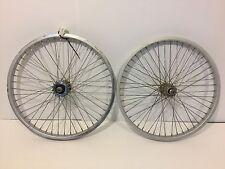 "Pair of 20"" BMX Bicycle Wheels Aluminum Silver 3/8"" Axles Old School Bike 303"