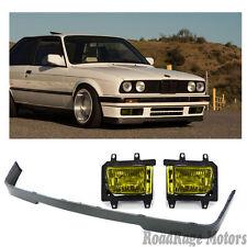 84-92 BMW E30 3-SERIES IS Front Bumper Lip + YELLOW Fog Lights 318 320 323i 325i