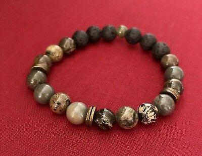 Jasper and Quartz Semi-Precious Gemstone /& Lava Rock 6mm Bead w Agate Slice Pendant Essential Oil Aromatherapy Diffuser Necklace L079