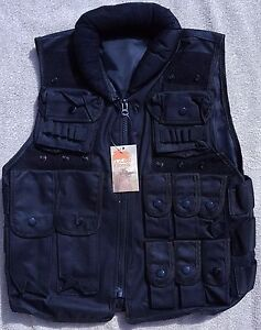 Airsoft Tactical Police Vest Black Heavy Duty Many Pockets Padded Neck Collar