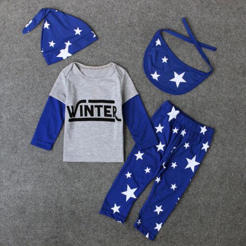 4PCS Newborn Baby Kids Girl Boy Star Tops+Long Pants+Hat+Bib Clothes Outfits Set