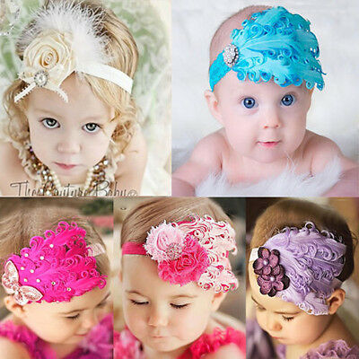Baby Girl Kids Elastic Lace Flower Peacock Feather Headband Hairband Hairdress