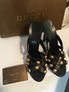 GUCCI-Babouska-Studded-Black-Leather-Sandals-Heels-Sz39-Rare-NEW-In-Box