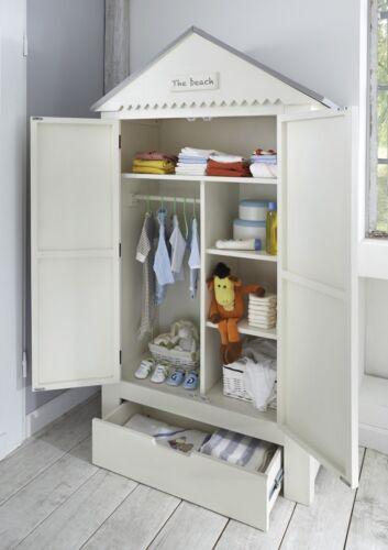 Kleiderschrank Kinder Babyzimmer Schrank Kiefer massiv weiß grau Dach Schublade